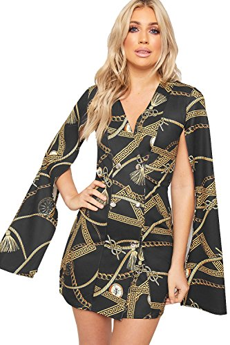 Baroque Print Dress (WearAll Women's Baroque Print Long Split Open Sleeve Mini Blazer Dress Button - Black - US 10 (UK 14))