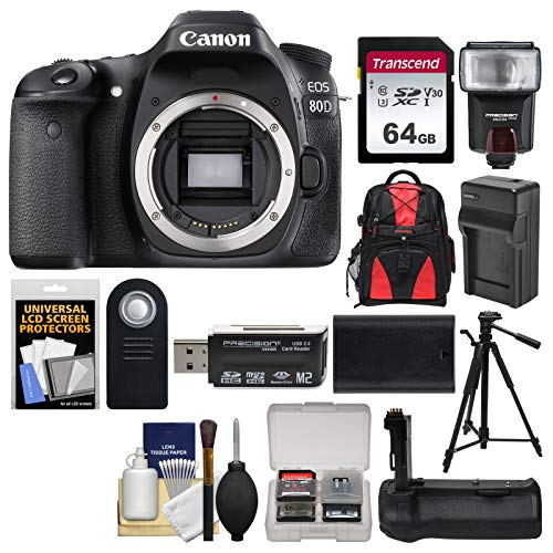 Canon EOS 80D Wi-Fi Digital SLR Camera Body with 64GB Card + Case + Flash + Battery & Charger + Grip + Tripod + Remote + Kit