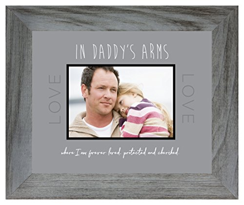 In Daddy's Arms - 8 x 10 Modern Wooden Wall Photo Frame or Table Top Picture Frame - Holds a 4 x 6 Horizontal Photograph in its - Daddys Girl Little Frame