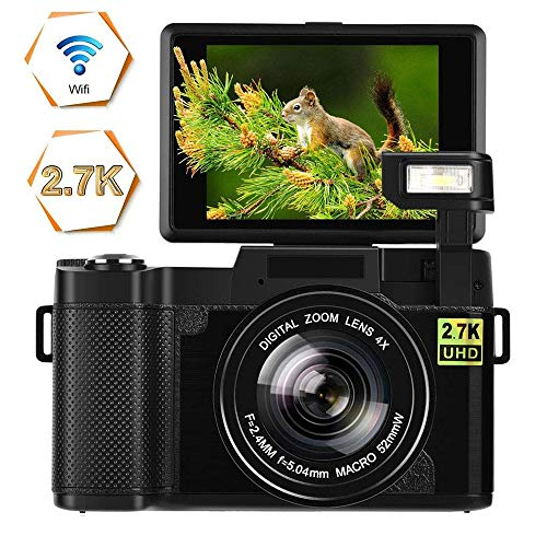 Digital Camera Vlogging Camera 24MP Ultra HD 2.7K WiFi YouTube Camera 3.0 Inch 180 Degree Rotation Flip Screen Camera Retractrable Flashlight