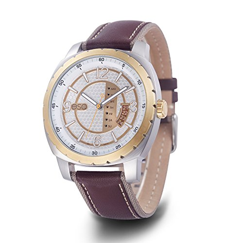 ESQ Men's Casual Stainless Steel Analog-Quartz Watch with Leather-Pig-Skin Strap, Brown, 21.6 (Model: 37ESQE11101A)