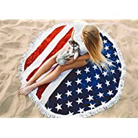 Round Beach Towel Blanket,Vacation Sunshine Bath Hiking Camping Blanket Round USA Flag Beach Bath Towels Roundie Mandala Towel Yoga Mat by Lanbao