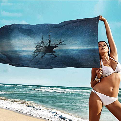 (Beach Chair Towel,Pirate Ship Ship on Dark Blue Sea with Starry Night Sky Water Reflection,Home Hotel Office Washcloths,W40x20L, Dark Blue Pale Blue Black)