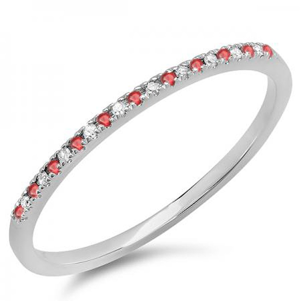10K White Gold Round Ruby & White Diamond Ladies Dainty Anniversary Band Stackable Ring (Size 9)