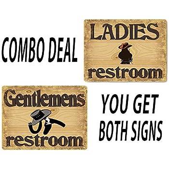 This Item Restroom Bathroom His And Hers Metal Signs Cowboy Style Vintage 399