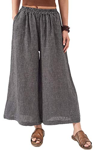 Les umes Ladies Womens Casual Loose Linen Elastic Waist Relaxed Trousers Cropped Wide Leg Culottes Pants Black-White ()