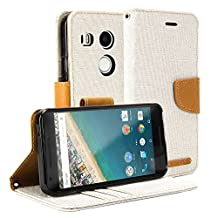 Nexus 5X Case, GMYLE Wallet Case Classic for Google LG Nexus 5X - Beige & Brown PU Leather Slim Stand Case Cover