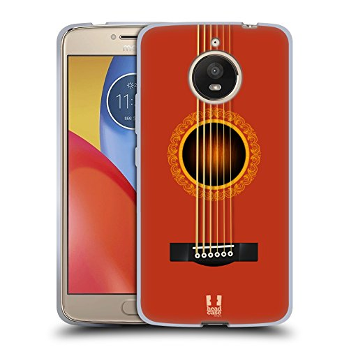 Head Case Designs Orange Acoustic Guitar Soft Gel Case for Motorola Moto E4 Plus