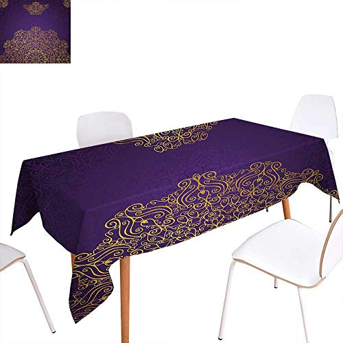 Warm Family Mandala Washable Tablecloth Vintage Ornament with Eastern Ottoman Artistic Motifs Revival Swirling Design Waterproof Tablecloths 70