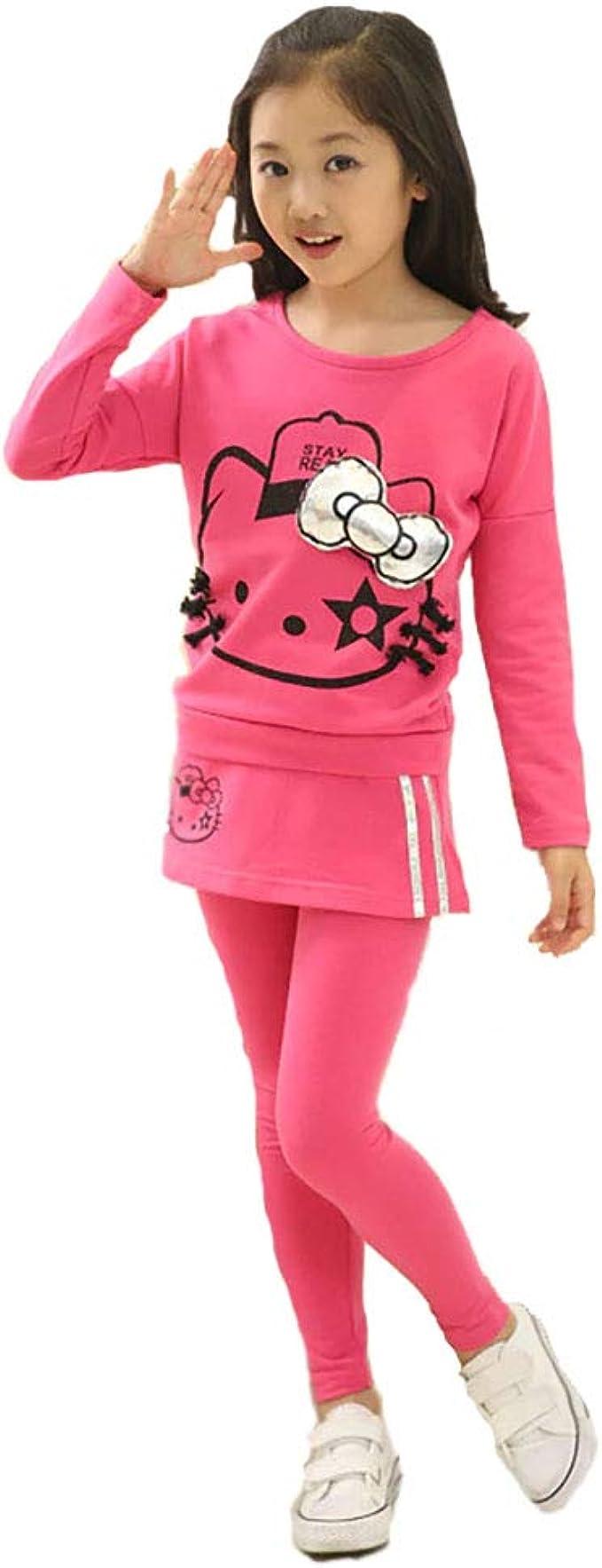 Little Girls Kitty Outfits 2pcs Suit Cotton Sport Sets T-shirt Pants Pink