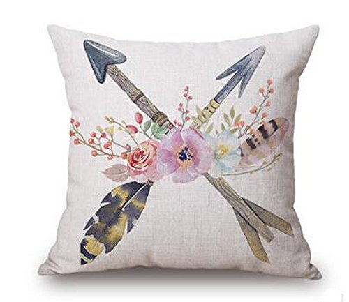 Retro nostalgia flower feathers arrow Cotton Linen Throw Pillow covers Case Cushion Cover Sofa Decorative Square 18 inch - Arrow Retro