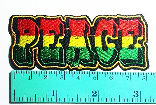 Hippie Costumes Applique Set (3 Patch Peace Rastafarian Rasta Reggae Symbol Sign Hippie DIY Applique Logo Patch Sew Iron on Logo Embroidered Badge Sign Emblem Costume)