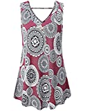 Misswor Summer Tunics for Women, Women's Sleeveless Shirts Split V Neck Elegant Floral Print Blouses Loose Fit Tunic Tops for Leggings Fit and Flare Shirts Beach Tank Tops Red XL