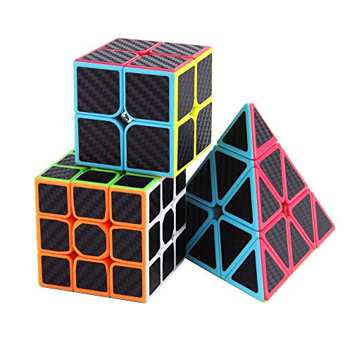 Roxenda Speed Cube Set, Magic Cube Set of 2x2x2 3x3x3 Pyramid Cube Carbon Fiber Improved Version Speedcube