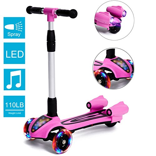 MammyGol Kick Scooters for Kids,Adjustable Handle  Folding LED Spray Jet Scooter, 3 wheeled, 110lb Weight Limit, age 3- 8 (About Elite Vehicle)