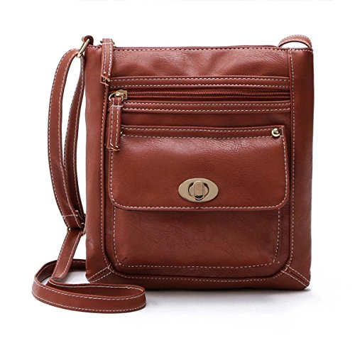Women Lady PU Leather Handbag Shoulder Bag Tote Purse Messenger Hobo Satchel Bag, With two zipper compartments and one magnetic twist button closure pocket (Brown)