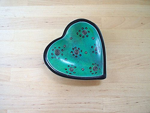 Handcrafted African Sea Green Heart Soapstone Ring Dish, Made in Kenya, Assorted Patterns
