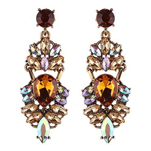 New Trendy Hyperbole Rhinestone Earrings For Women Long Drop Earring Women Jewelry Wholesale earring yellow