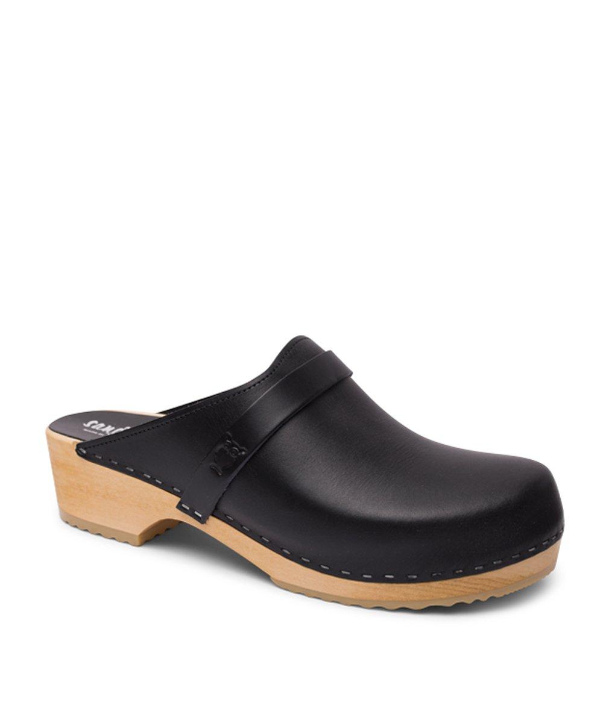 Sandgrens Swedish Wooden Clogs for Men with Leather Upper | Malmö Black, EU 43