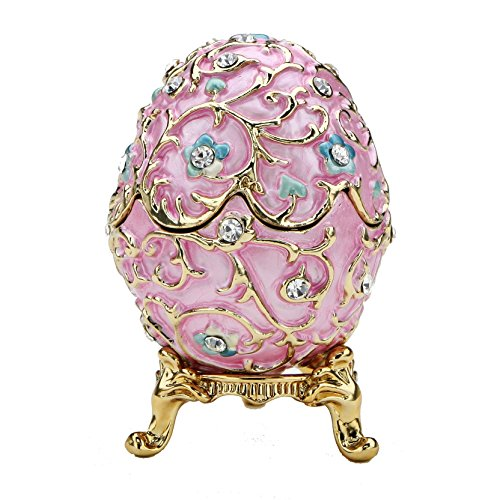 Edition Insert (Pink Flowered Faberge Egg with Stand and Ring Insert - Swarovski Crystals, Limited Edition Collectible)