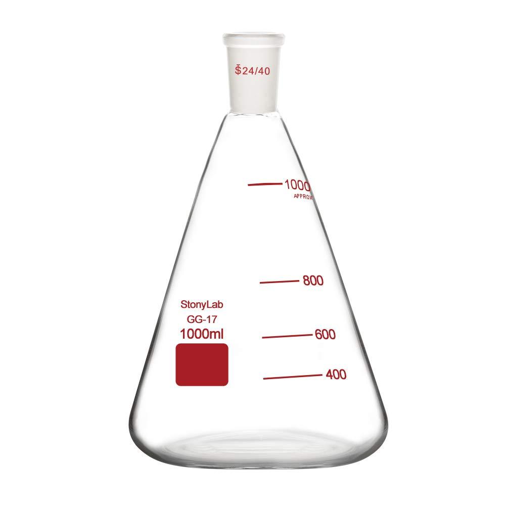 1 1000 ml StonyLab Erlenmeyer Thermos en verre borosilicate avec joint ext/érieur 24//40