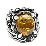 Bishilin Ring for Men Silver Plated with Oval Amber Paw Friendship Rings Silver Size 12.5