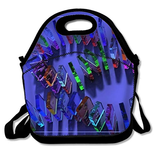 (Colorful And Transparent Domino Tiles Lunch Bags Insulated Zip Cooler Bag Portable Lunch Box)
