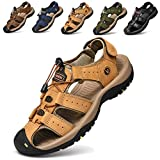 todaysunny Men Sandals Closed Toe Walking Fastening Hiking Sport Shoes Leather Sandals Yellow