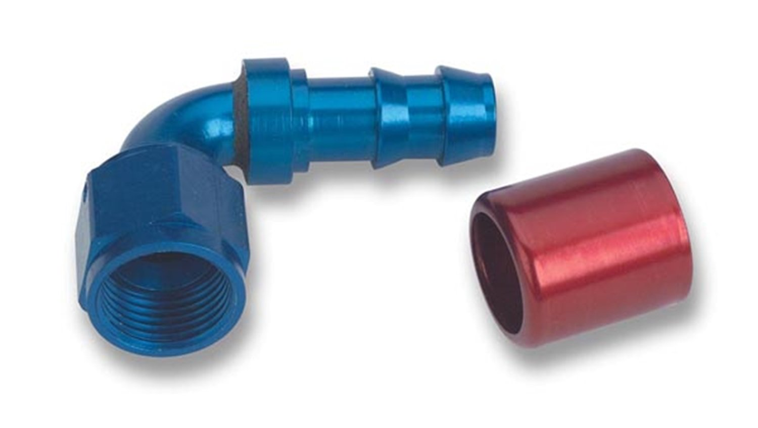 Earl's 709167 Super Stock Blue and Red Anodized Aluminum -6AN 90-Degree Angled Push-on Hose End by Earl's Performance (Image #1)