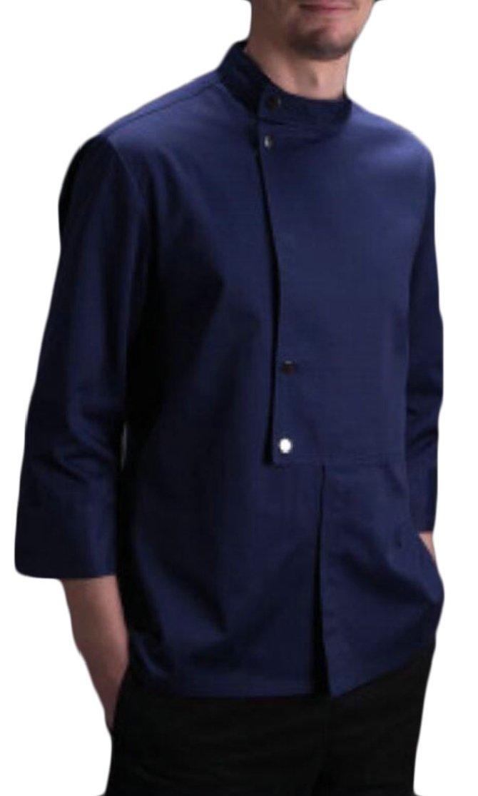 M&S&W Mens Summer 3/4 Sleeve Executive Chefs Jacket Kitchen Coat Navy Blue L
