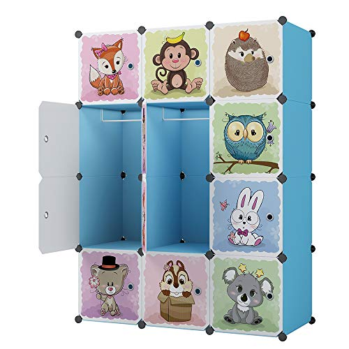 KOUSI Kids Dresser Kids Closet Portable Closet Wardrobe Children Bedroom Armoire Clothes Hanging Storage Rack Cube Organizer,Cute Cartoon,Safety, Large,Sturdy (Blue, 16)