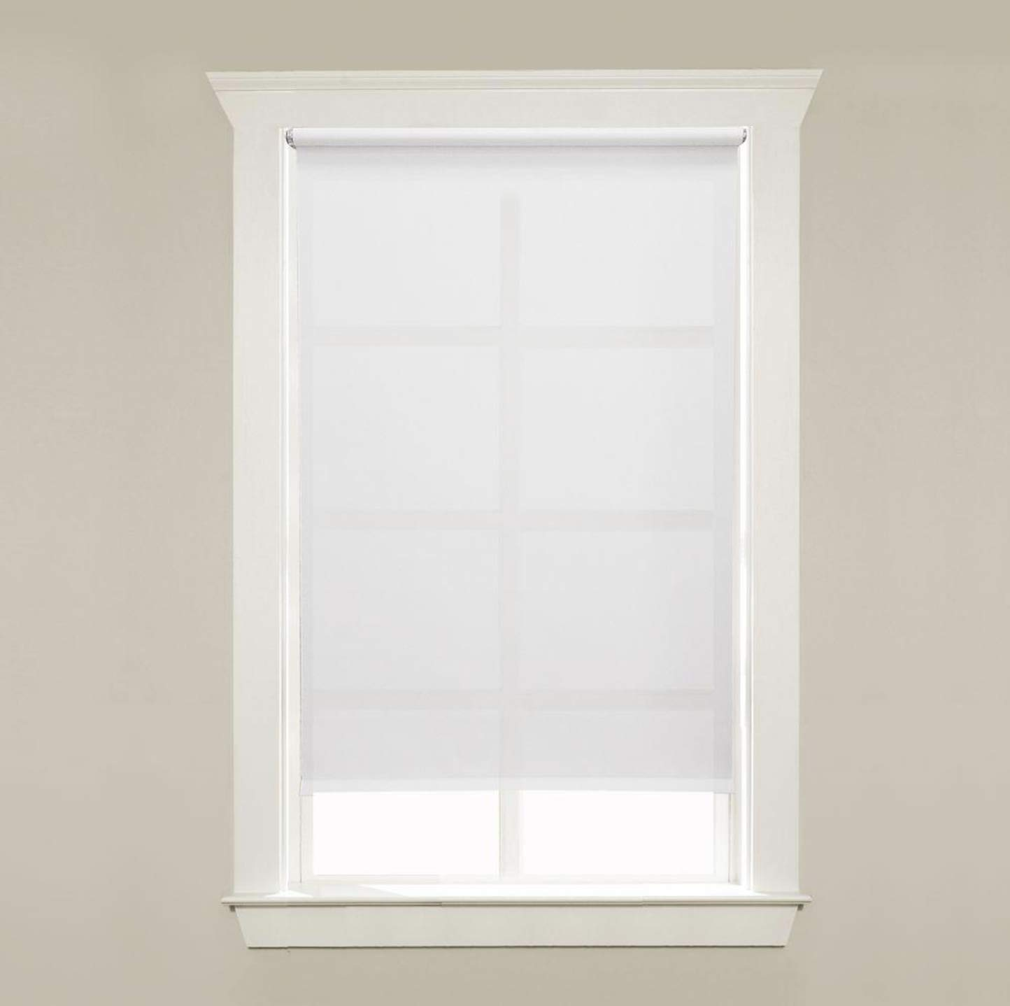 Hometown BudgetBlinds White Cordless Light Filtering 5 mil Vinyl Roller Shade Curtain for Window or Door (24 W 72 L)