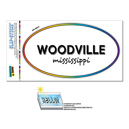 Rainbow Euro Oval Window Laminated Sticker Mississippi MS City State Wav - Yaz - Woodville