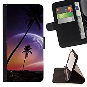 DEVIL CASE - FOR Apple Iphone 6 PLUS 5.5 - Beautiful Pink Planet Beach Paradise - Style PU Leather Case Wallet Flip Stand Flap Closure Cover