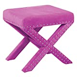 Office Star Katie Upholstered X-Style Bench with Nailhead Accents, Lavender Micro Velvet