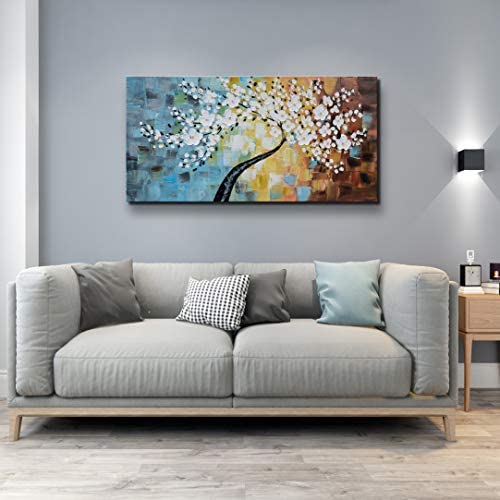 ARTLAND Huge Hand Painted Golden White Flowers Oil Painting Modern Canvas Wall Art for Living Room Abstract Tree Artwork Framed Ready to Hang for Home Decoration 24×48 inches
