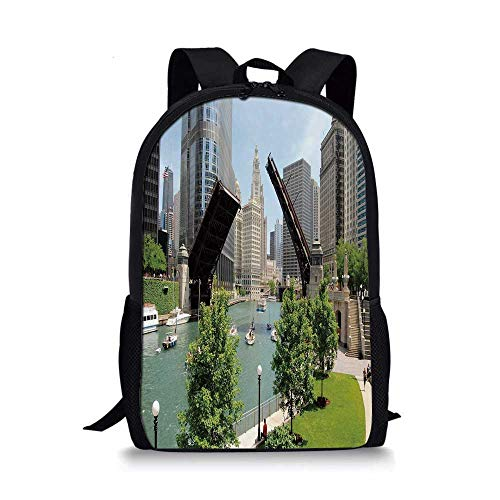 United States Stylish School Bag,Downtown Chicago Illinois Finance Business Center Lake Michigan Avenue Bridge for Boys,11''L x 5''W x ()