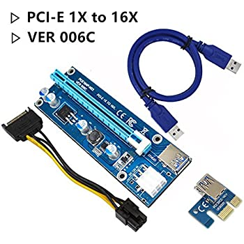 Sorking PCI-E 1X to 16X Extension Cable PCI Express VER 006C USB 3.0 Extension Cable with SATA Cable 15pin Male to 6pin Female Power Supply Mining Dedicated