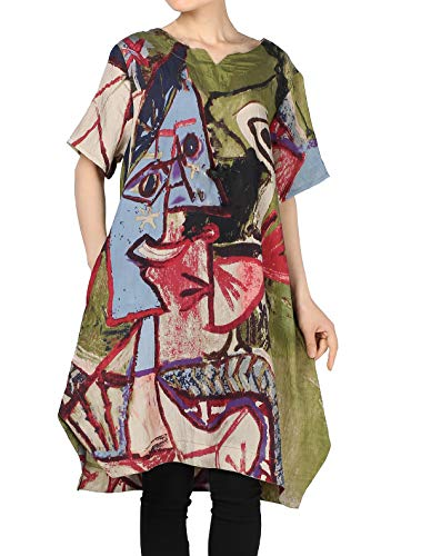 Mordenmiss Women's Summer Abstract Printing Baggy Dress with Pockets L Green