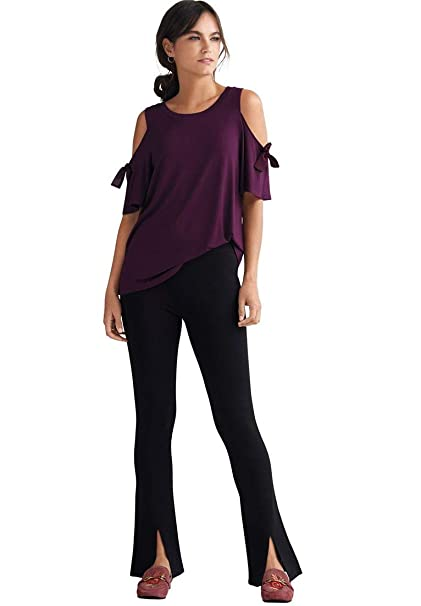 11c274f4639 Ellos Women s Plus Size Front-Slit Boot Leg Ponte Pants at Amazon Women s  Clothing store