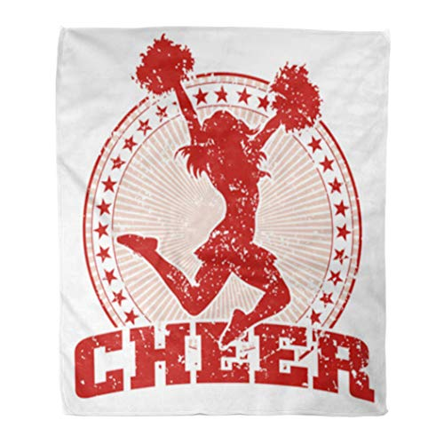 Golee Throw Blanket Cheer Vintage is of in Cheerleader Silhouette Circle Stars 50x60 Inches Warm Fuzzy Soft Blanket for Bed Sofa ()