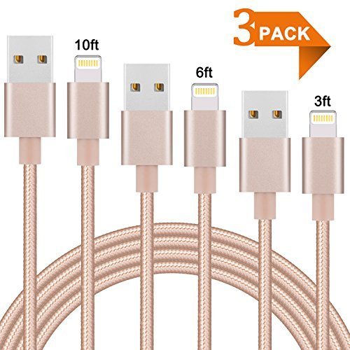 Everdigi Lightning Cable 3Pack 3ft 6ft 10ft Nylon Braided Charge Cable Compatible with X 8 8Plus 7 7 Plus 6 6s 6 plus 6s plus 5 5s 6c iPad iPod -Gold