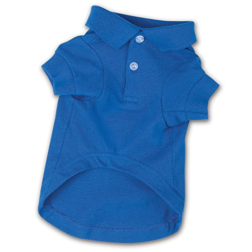 Zack & Zoey Nautical Blue Polo Dog Shirt, X-Small - Classic Style Shirt with 2-Button Collar, 100% Cotton Construction