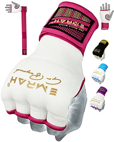 EMRAH Pro Training Ladies Boxing Inner Gloves Hand Wraps MMA Fist Protector Bandages Mitts (Small, White/Pink)
