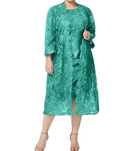 Gruen Damen mit Knielang Festlichkleider Brautmutterkleider Abendkleider Spitze Jaket Damen Promkleider Charmant Jaeger P06dqw50