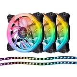 EASYDIY 120mm RGB PWM PCケースファン LEDストリップ付き,マザーボード同期(ASUS AURA,MSI MYSTIC SYNC), RGB LED機能調節 コントローラ付き