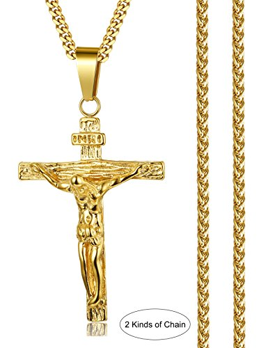 less Steel Jesus Christ Cross Crucifix Pendant Necklace for Women Men 22