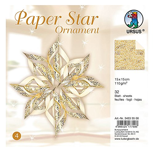 Ursus 34535500 - Paper Star Ornament 4 for 4 Stars, Size: 40 x 40 cm Gold (Star Jewelry Moravian)