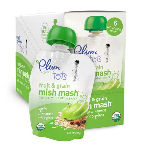 Plum Organics Tots, Fruit and Grain Mish Mash, Apple Cinnamon, Oats and Quinoa (6 Count, 3.17 Ounce Each)