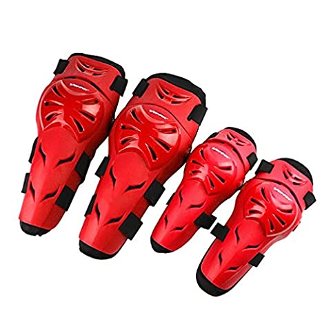 2 Pairs Protective Gear, ADiPROD 4 PCS Adjustable High-Impact Adult Knee Shin Elbow Guards PE+EVA Knee Pads for Motorcycle Motocross MTB Riding Cycling Skating, One Size Fits Most - Warrior Rock Sliders